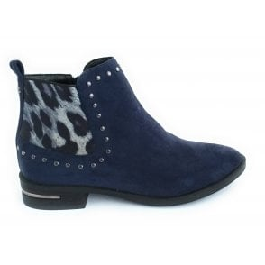 Lolita Navy Microfibre Ankle Boot