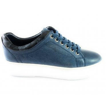 London Blue Leather Lace-Up Casual Shoe
