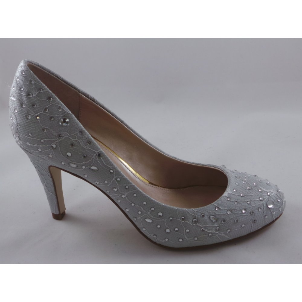 0316f8c34a Lotus Angelica Silver Satin Round-Toe Court Shoe - Lotus from ...