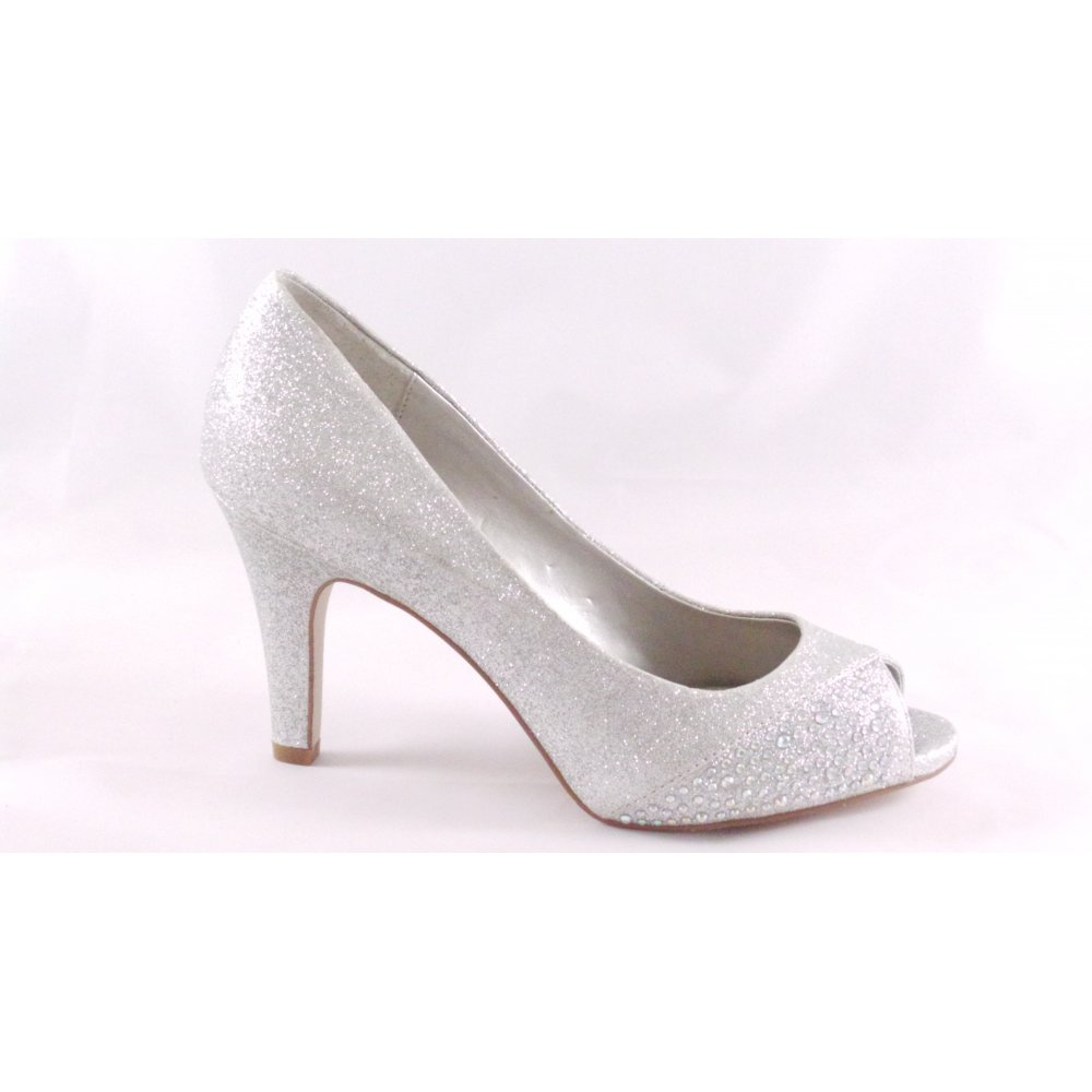 Lotus Atlantic Silver Glitter Peep-Toe Court Shoe