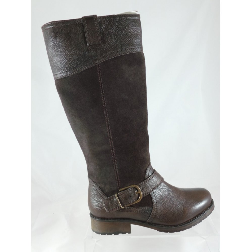 lotus brown leather and suede knee high boot