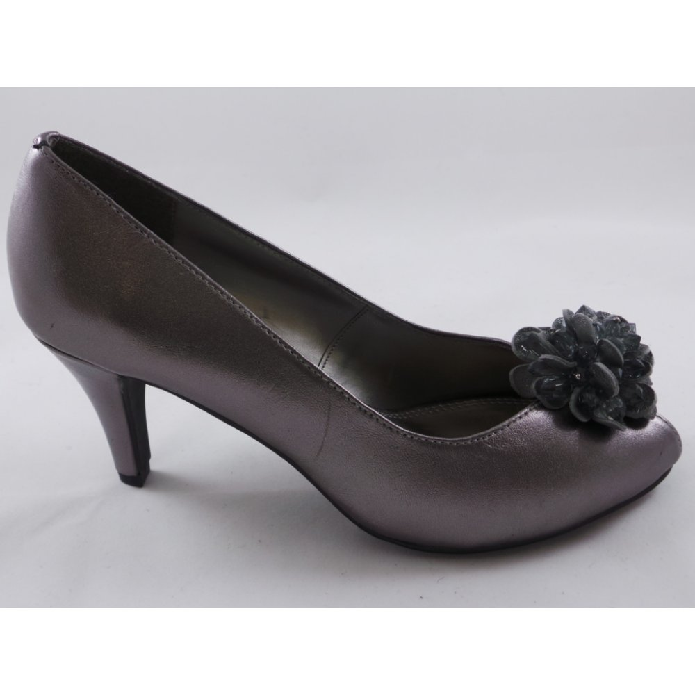 Lotus Chantille Pewter Leather Cluster Peep Toe Shoe