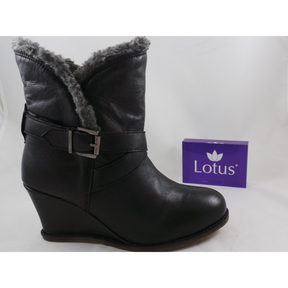 Lotus Cove Black Leather Round Toe Wedge Ankle Boot - Lotus from ...
