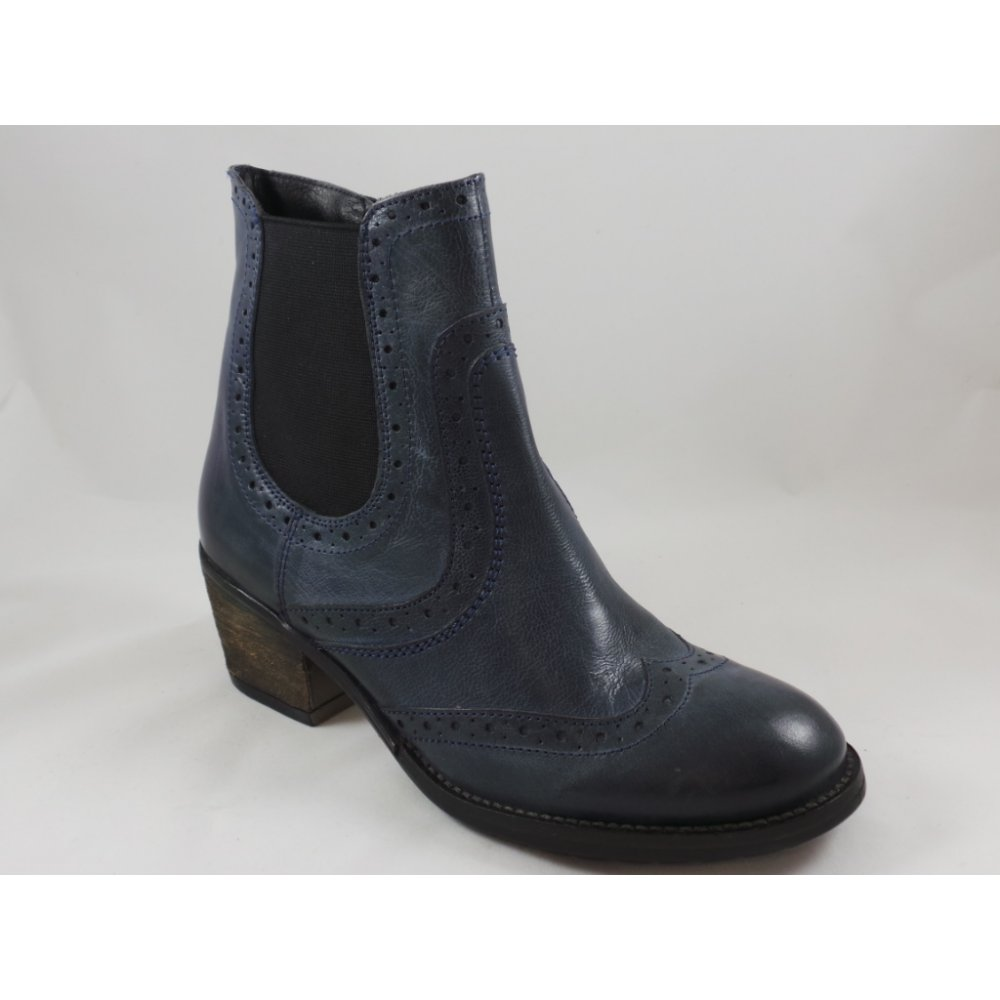 lotus denim blue leather brogue ankle boot lotus