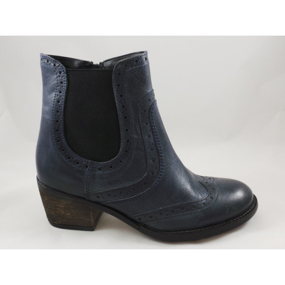 Lotus Daria Denim Blue Leather Brogue Ankle Boot - Lotus from