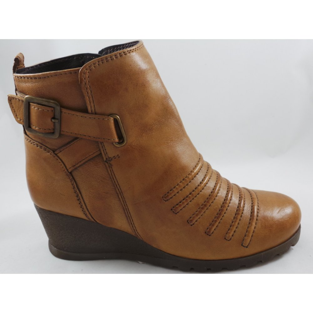3ae27b181ec Lotus Division Tan Leather Wedge Ankle Boot - Lotus from ...