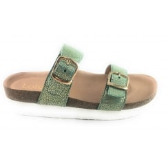 Green and Gold Dot Print Leather Mule