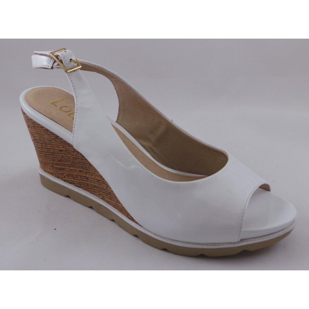 1a0823448b Lotus Maron White Patent Peep-Toe Wedge Sandal - Lotus from ...