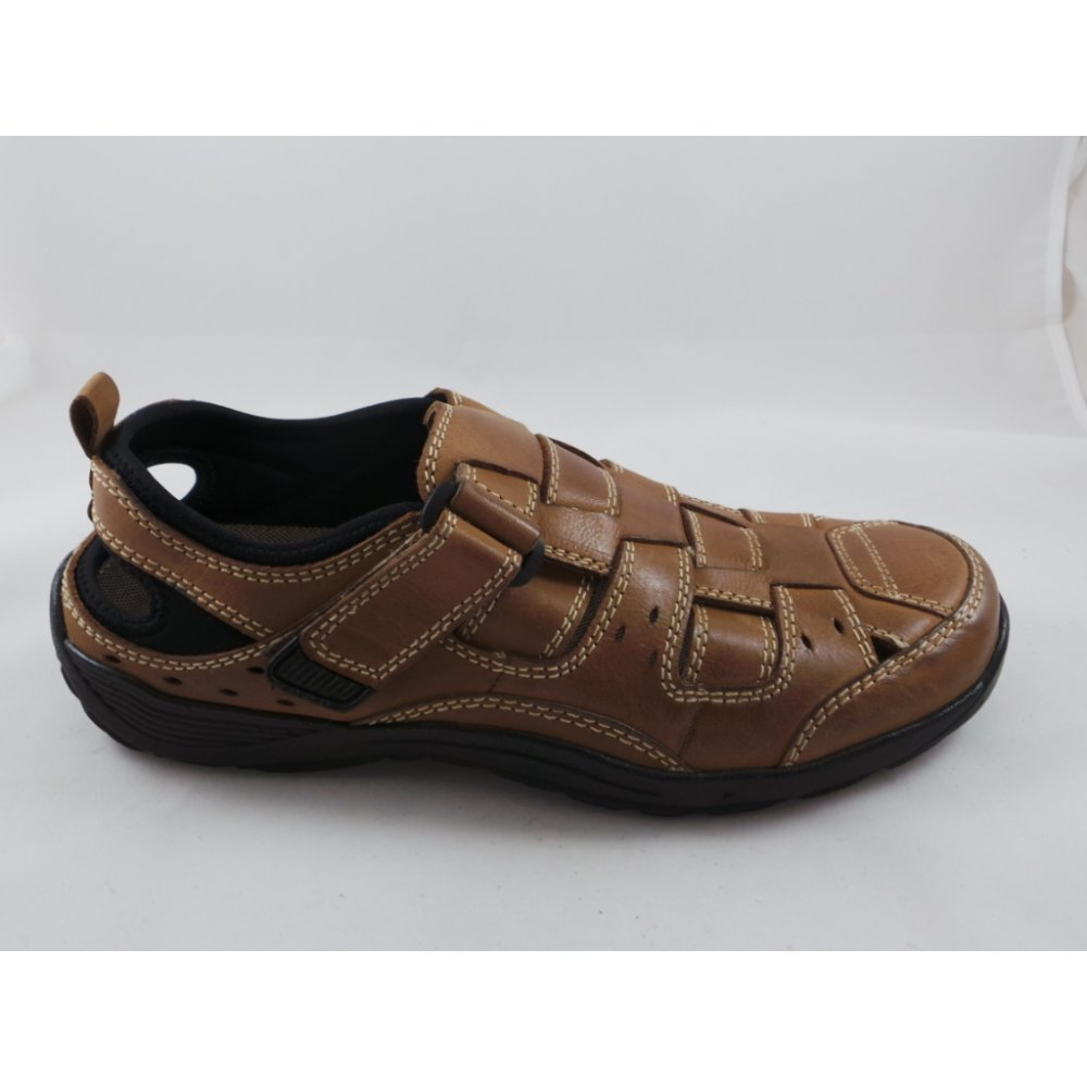 35117eca063 Lotus Mens Eldridge Tan Velcro Closed Toe sandal - Lotus from ...