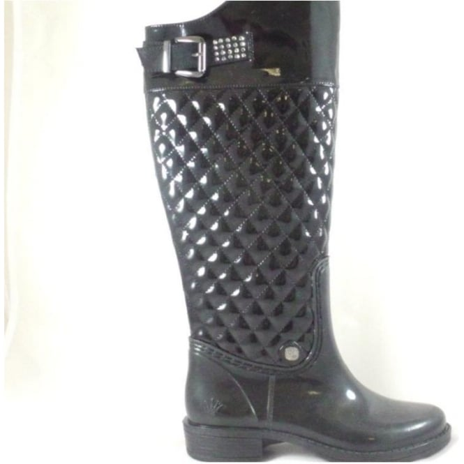 116a91bed79 Lotus Posh Wellies Rohan Quilted Black Patent Knee-High Boot - Lotus from  size4footwear.com UK