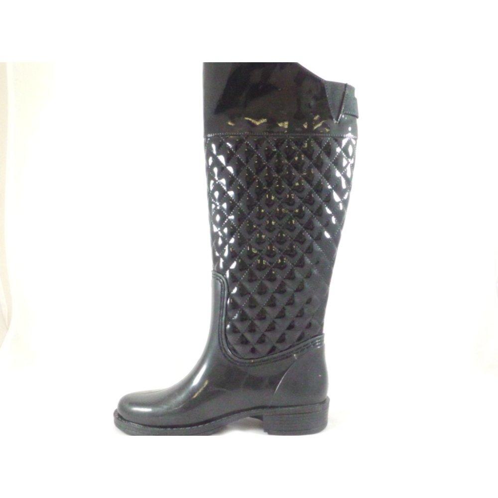 2834aa0e595 Lotus Posh Wellies Rohan Quilted Black Patent Knee-High Boot - Lotus ...