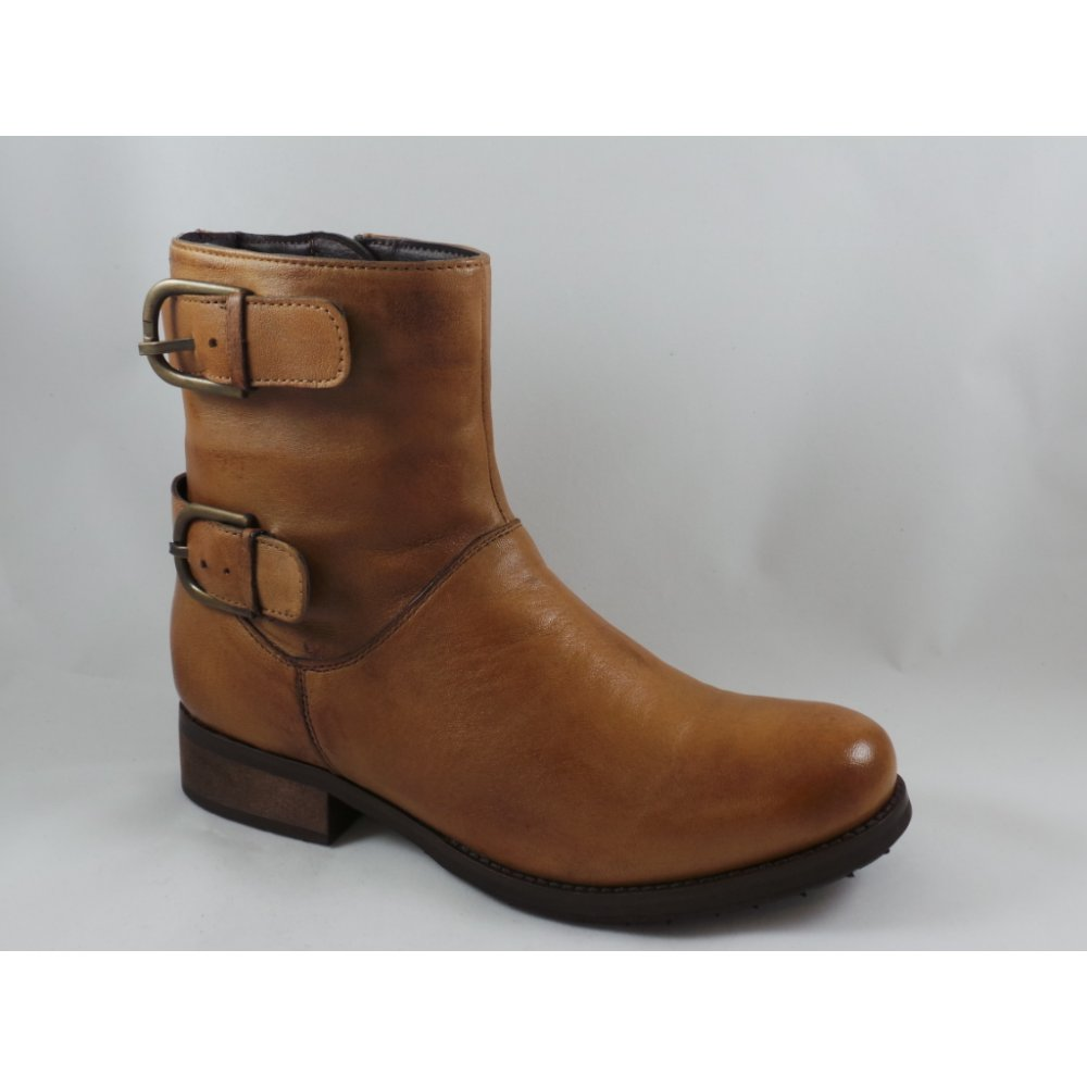 Lotus Round Toe Tan Leather Ankle Boot - Lotus from size4footwear ...