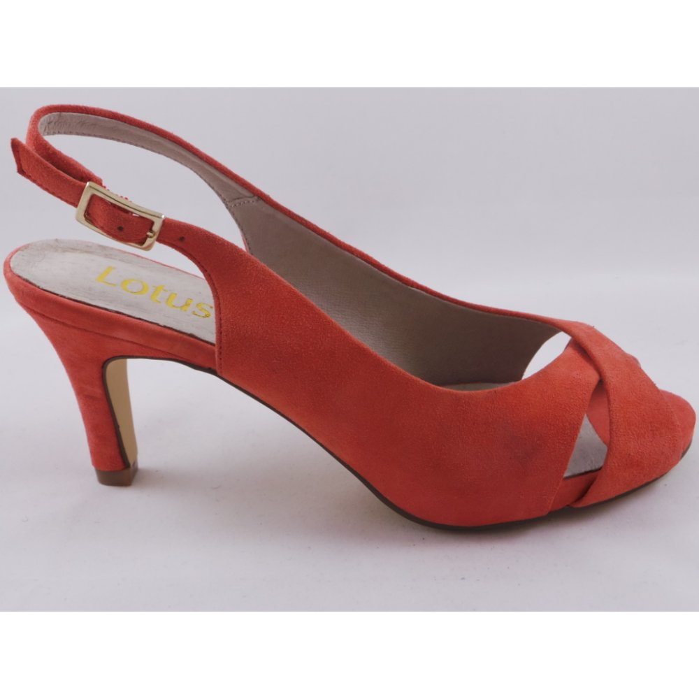 Lotus Scarlette Coral Suede Sling Back Open Toe Court Shoe