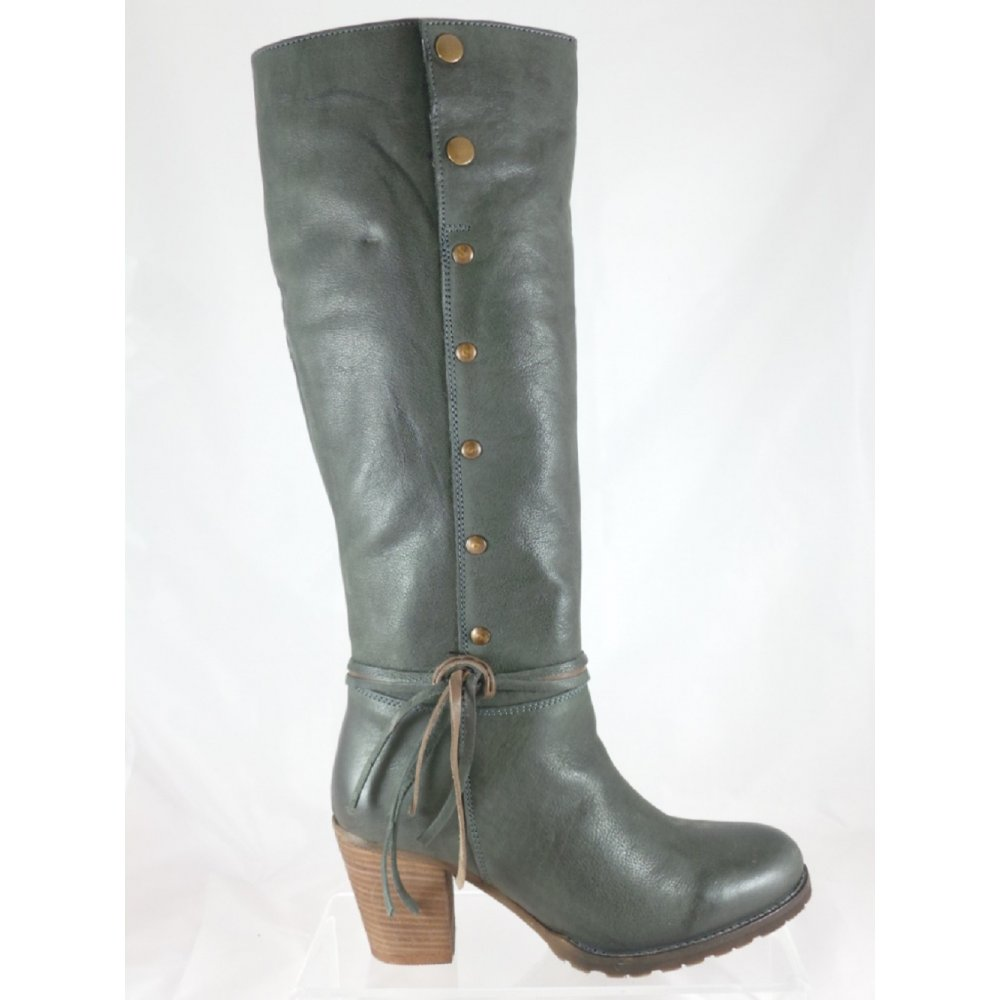 lotus grey leather knee high boot lotus from