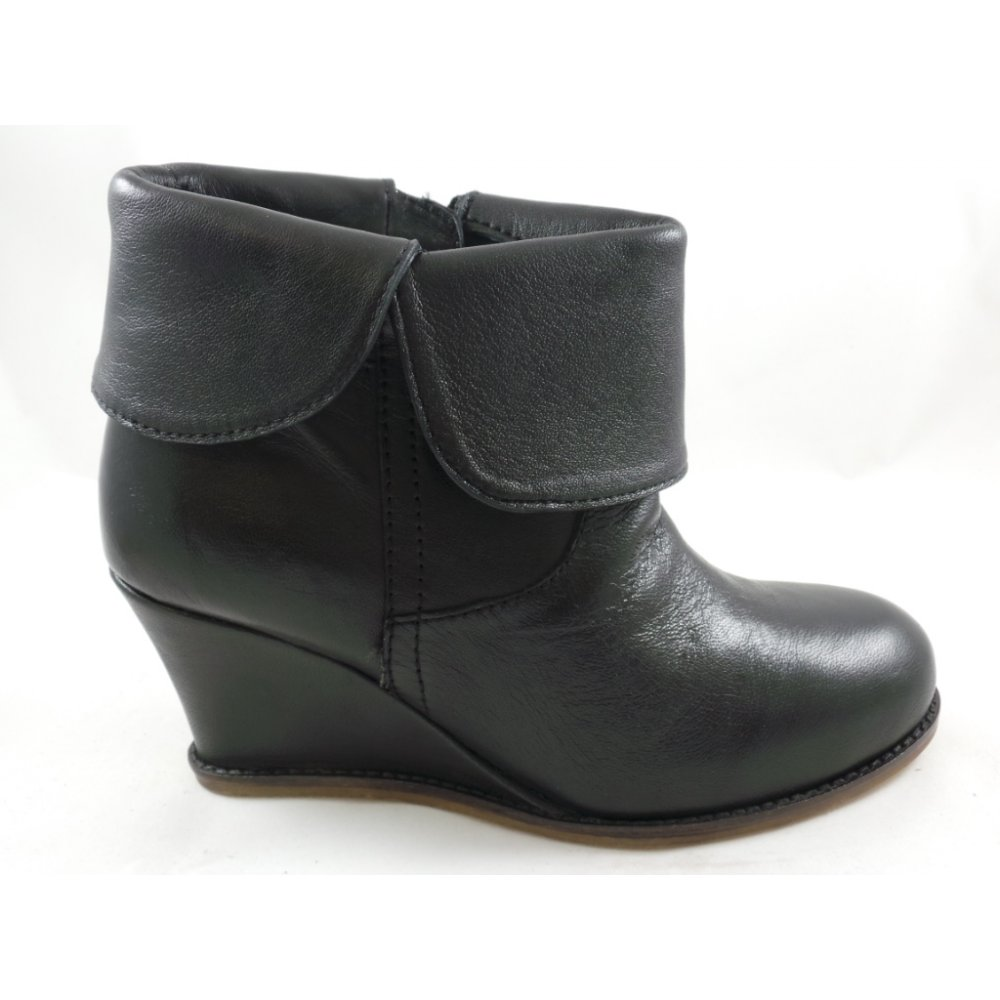 Lotus Tabatha Black Leather Wedge Ankle Boot - Lotus from ...