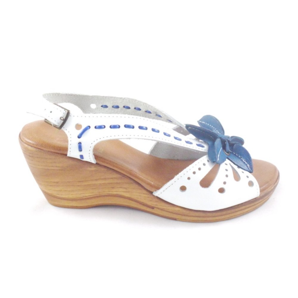 lotus treviso white and blue leather wedge sandal lotus
