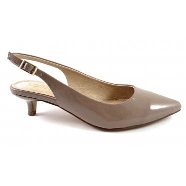 Lou Dark Nude Patent Sling-Back Court Shoe