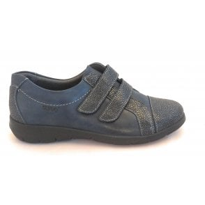 Louise Navy Shimmer Leather Wide Fit Casual Shoe