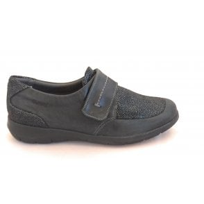 Lucille Black Shimmer Leather Casual Shoes