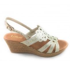 Ludisa Gold Glitz Wedge Sandal