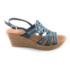 Ludisa Navy Glitz Wedge Sandal