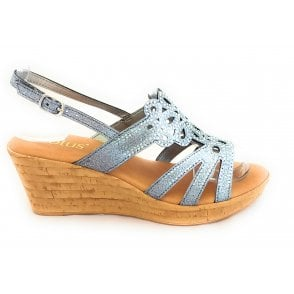 Ludisa Pewter Glitz Wedge Sandal