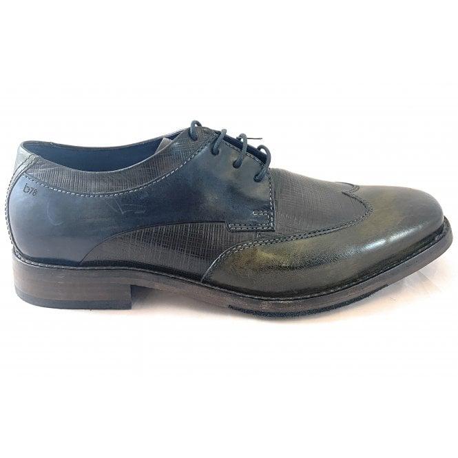 Bugatti Lugana Mens Black and Green Leather Shoe