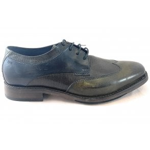 Lugana Mens Black and Green Leather Shoe