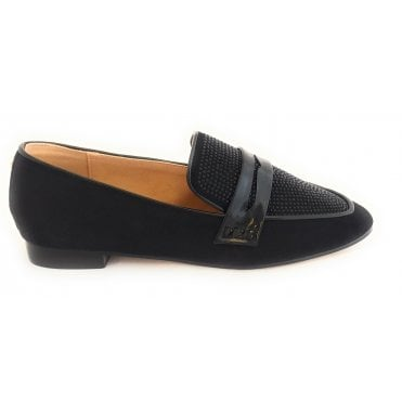 Luis Black and Diamante Loafers