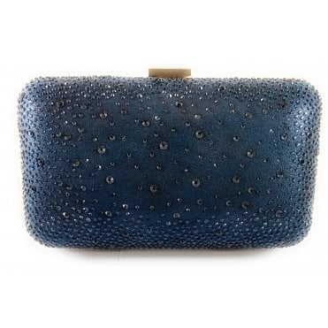 Lule Navy Diamante Clutch Bag