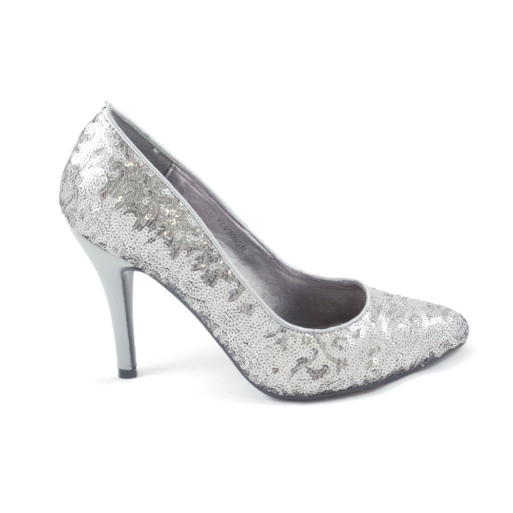 FLV309GR Silver Grey Sequin Court Shoe - from ...
