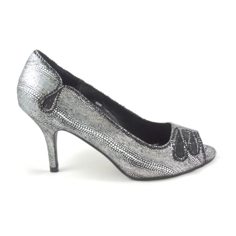 Rene Black And Silver Metallic Peep-Toe Court Shoe
