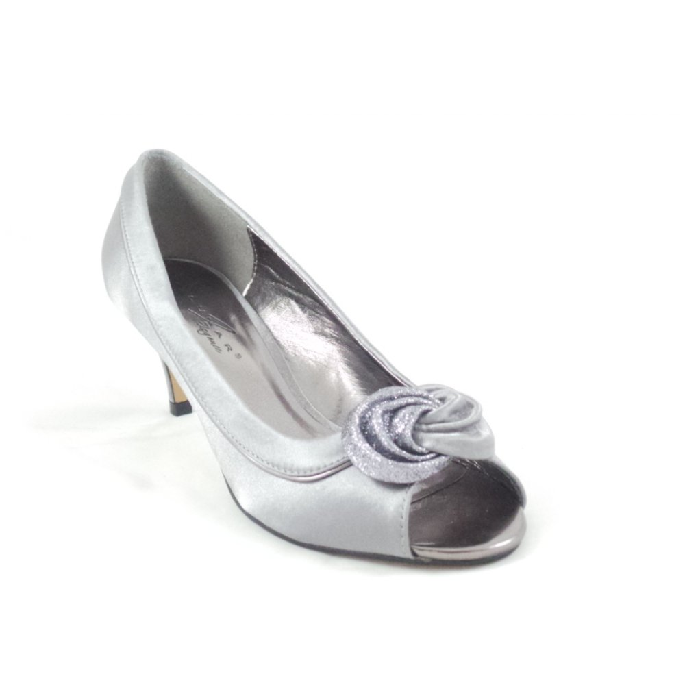 Ripley Grey Satin Peep Toe Court Shoe From Size4footwear