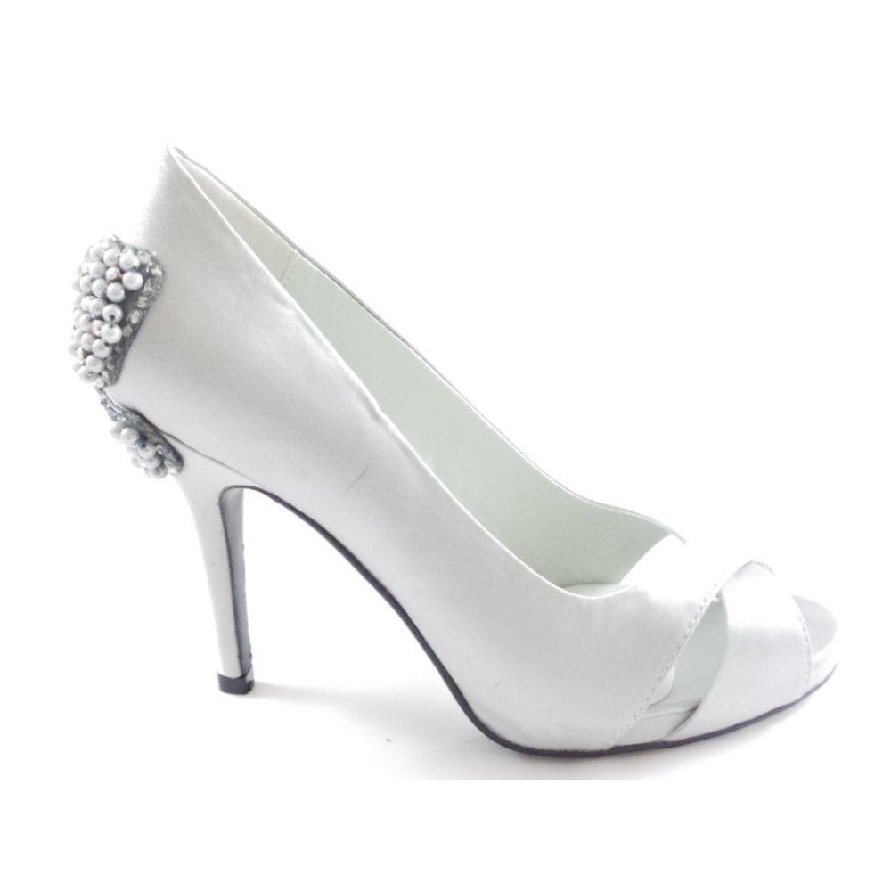 Silver Grey Satin Peep Toe Court Shoe From Size4footwear