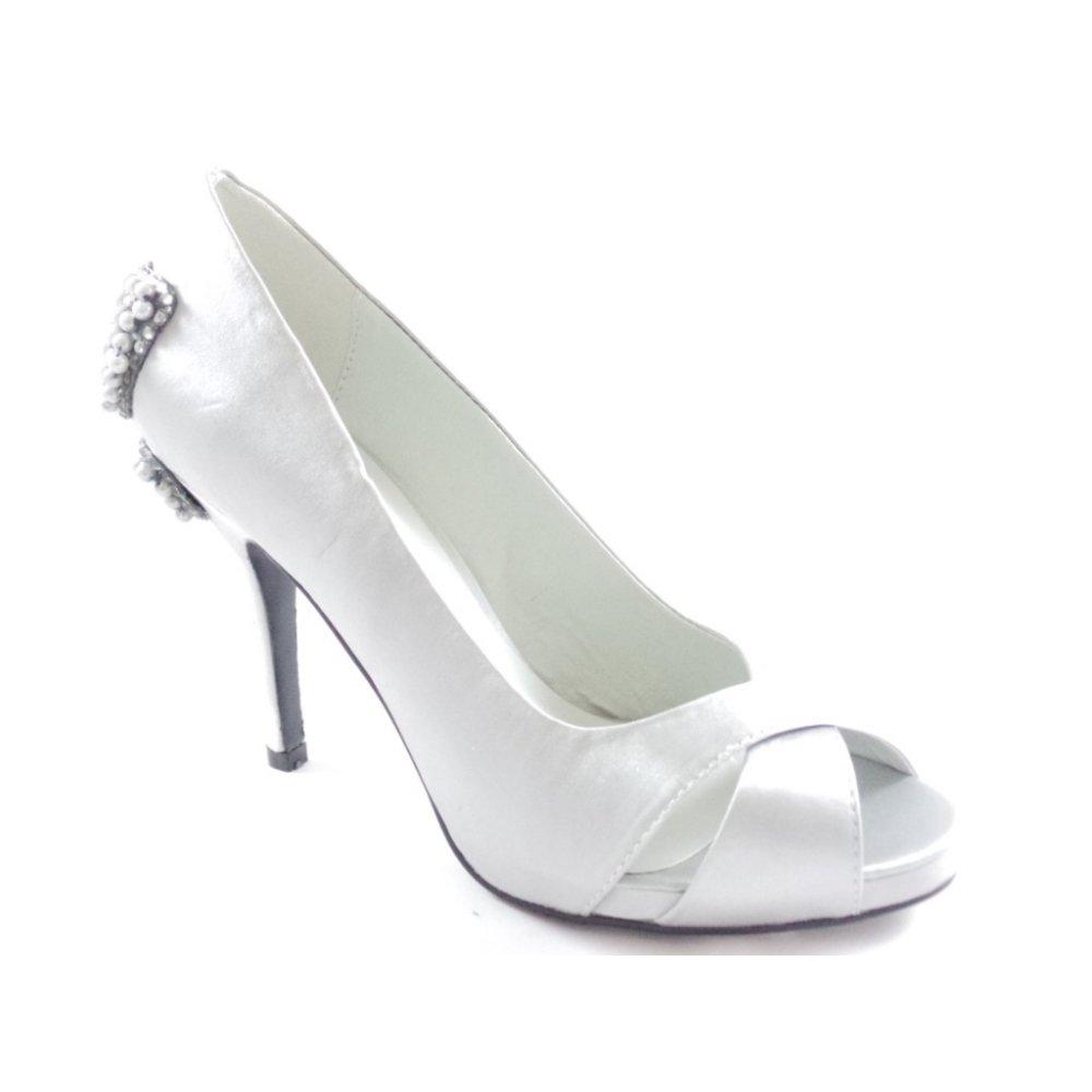 Lunar Silver Satin High Court Shoes