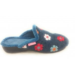 Lupin Blue Floral Mule Slipper