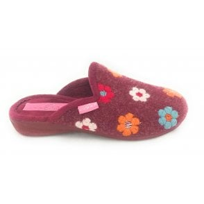 Lupin Wine Floral Mule Slipper
