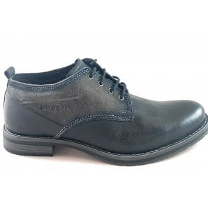 Lussorio Mens Black Leather Lace-Up Shoe