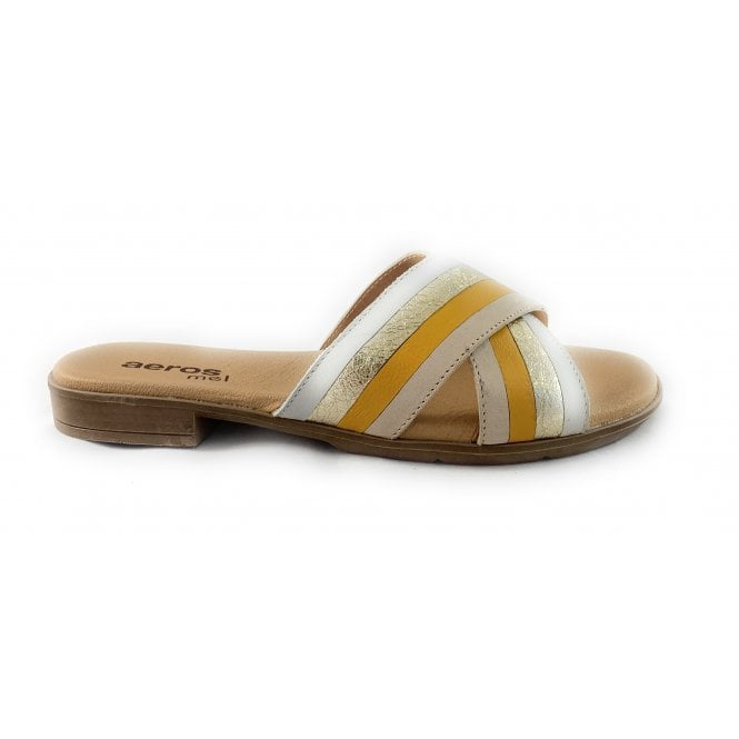 Aeros M007 Beige , Yellow and Gold Leather Mule