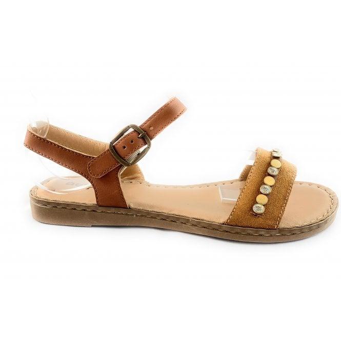 Aeros M085 Tan Leather Flat Sandal
