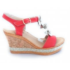M438 Red and Gold Leather Wedge Sandal