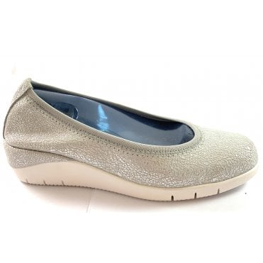 M676 Selena Silver Print Leather Pump Shoe