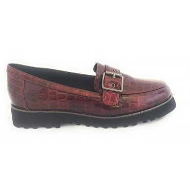 Macy Burgundy Patent Croc Print Loafer