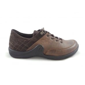 Maddy 03 Brown Leather and Nubuck Lace-Up Casual Shoe