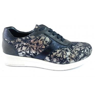 Madrid Navy Floral Leather Lace-Up Casual Shoe