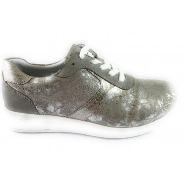Madrid Silver Floral Leather Lace-Up Casual Shoe