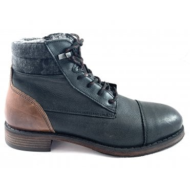 Maffeo Mens Black Leather Boots