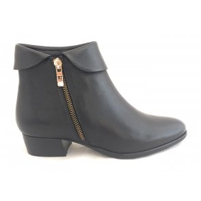 Maggie Black Leather Ankle Boots