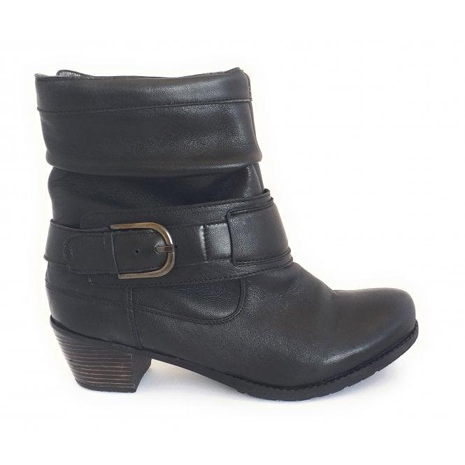Lotus Malala Black Leather Ankle Boot