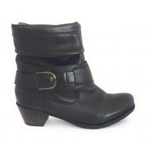 Malala Black Leather Ankle Boot